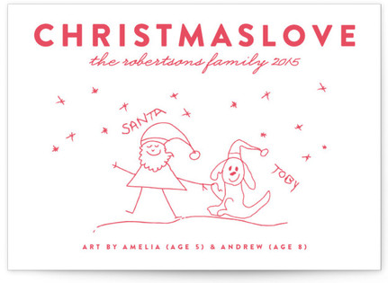 Christmas Love Completely Custom Your Drawing As Letterpress Card