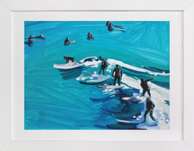 Surfers at Sunset Domino Non-custom Art Print