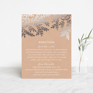 """""""Leaves and Kraft"""" - Rustic, Floral & Botanical Foil-pressed Direction Cards in Warm Kraft by Katharine Watson."""