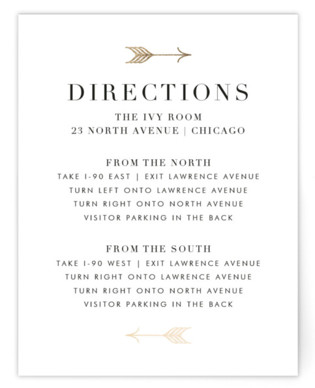 Arrow Frame Foil-Pressed Direction Cards