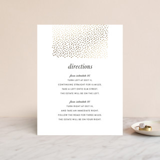"""""""Delicate Dots"""" - Modern, Formal Foil-pressed Direction Cards in Gold by Ashley Hegarty."""