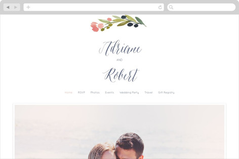 Watercolor Wreath Wedding Websites