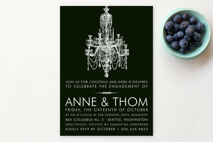 """Chandelier Engagement"" - Elegant Engagement Party Invitations in Midnight by Splendid Press."