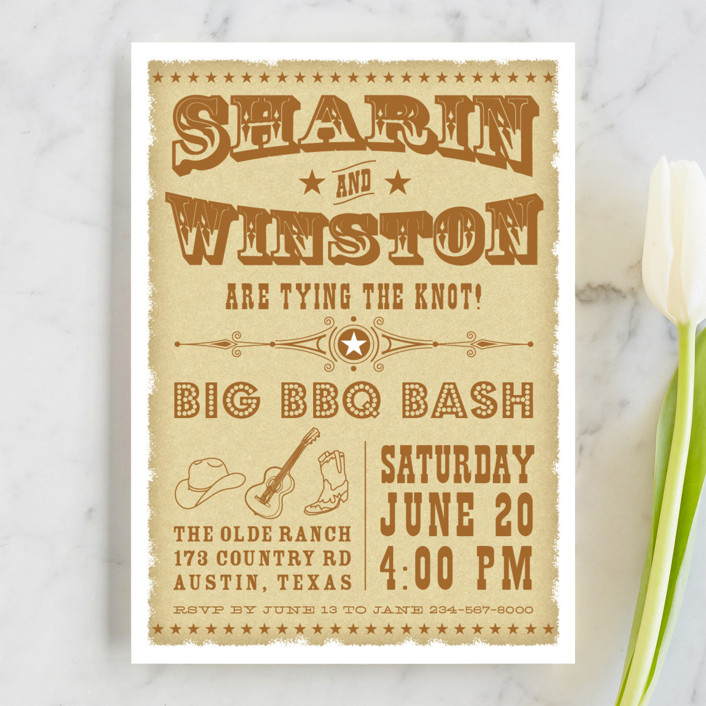 """Vintage Western"" - Vintage Engagement Party Invitations in Brown Ochre by Coco and Ellie Design."