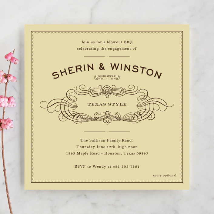 """""""Old Time BBQ"""" - Vintage, Formal Engagement Party Invitations in Chocolate by Ariel Rutland."""