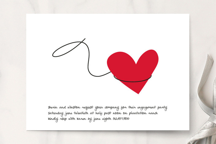 """""""Lasso"""" - Whimsical & Funny Engagement Party Invitations in Red Rose by Marabou Design."""