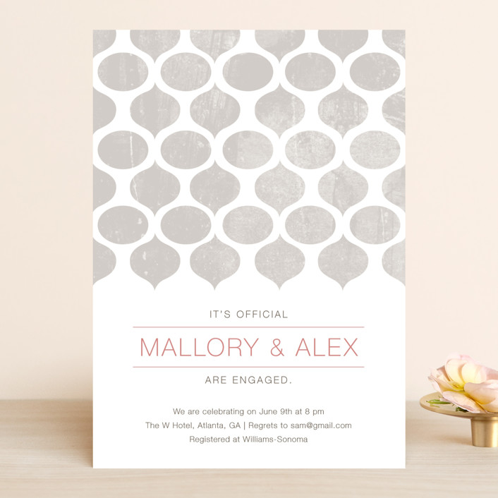 """""""Modern Pattern"""" - Modern Engagement Party Invitations in Silver by Stacey Meacham."""