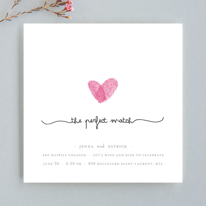 """""""Fingerprint Heart"""" - Modern, Whimsical & Funny Engagement Party Invitations in Pearl by Angelene."""