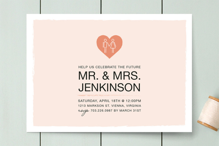 """Coupled Heart"" - Modern Engagement Party Invitations in Coral by Mallory Hope Design."