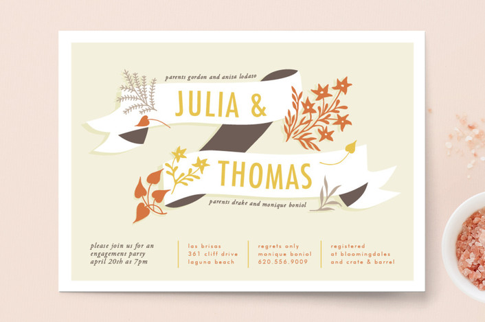 """Enchanted"" - Floral & Botanical Engagement Party Invitations in Citrus by trbdesign."