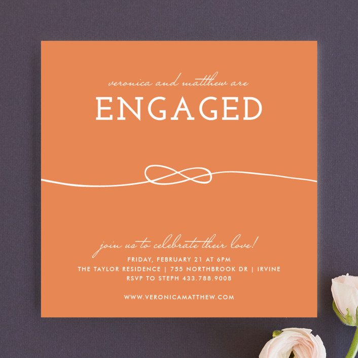 """""""Tied Together"""" - Modern Engagement Party Invitations in Apricot by trbdesign."""