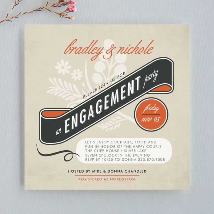 """Classic Vintage"" - Vintage Engagement Party Invitations in Tangerine by trbdesign."