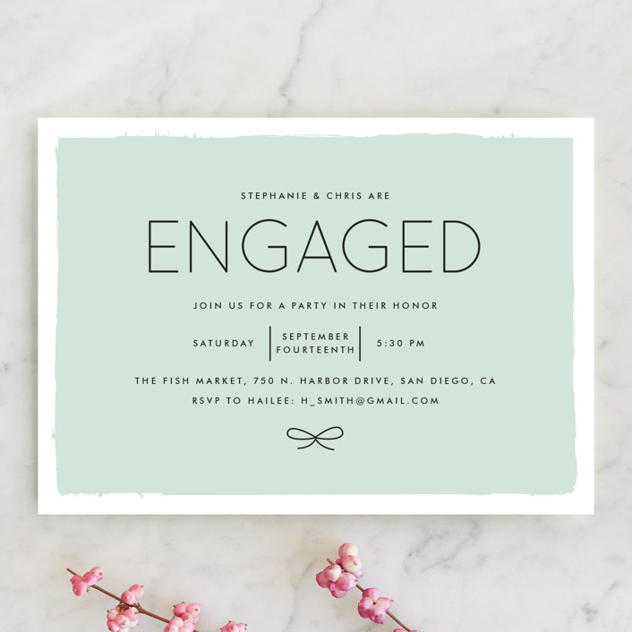 """""""Knotted"""" - Modern Engagement Party Invitations in Aqua by Amber Barkley."""