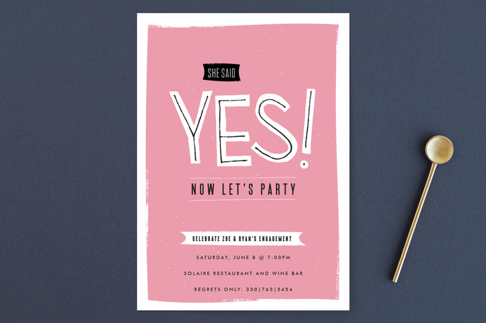 """Now Let's Party"" - Modern Engagement Party Invitations in Peoni by Kristie Kern."