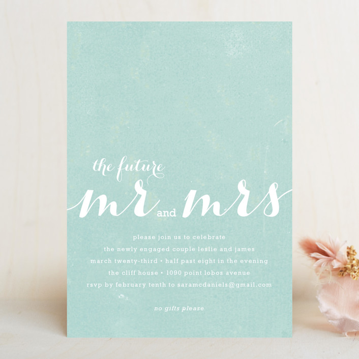 """The Future Mr. and Mrs."" - Modern Engagement Party Invitations in Light Aqua by roxy."