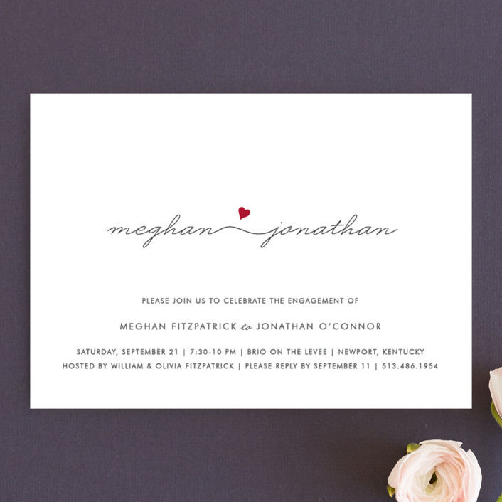 """""""Love Connection"""" - Modern Engagement Party Invitations in Red Hot by Kim Dietrich Elam."""