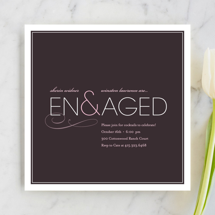 """""""Engaged"""" - Modern Engagement Party Invitations in Eggplant by kelli hall."""