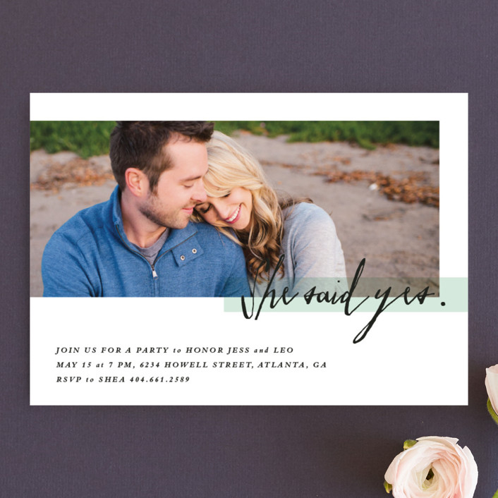 """""""Yes!"""" - Modern Engagement Party Invitations in Minty Fresh by Stacey Meacham."""
