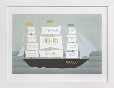 Schooner Family Tree Custom Art Print