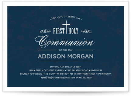 Stately Cross First Holy Communion Invitations