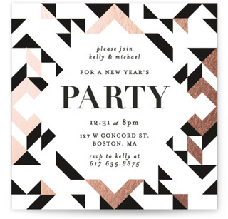 Geometric Holiday Party Foil-pressed Party Invitation