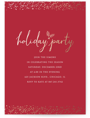 Sprinkled with Gold Foil-pressed Party Invitation