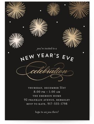 Midnight Celebration Foil-pressed Party Invitation