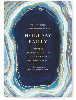 Gilt Agate Foil-pressed Party Invitation