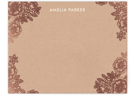Lace and Kraft Foil-Pressed Personalized Stationery