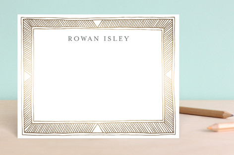 Hand Drawn Gilded Frame Foil-Pressed Stationery