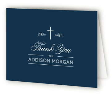Stately Cross First Holy Communion Thank You Cards