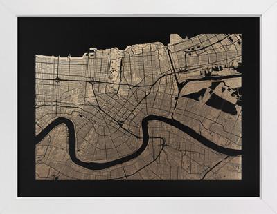 New Orleans Map Foil-Pressed Art Print