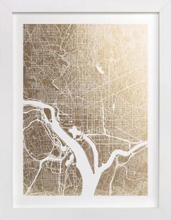 Washington D.C. Map Foil-Pressed Art Print