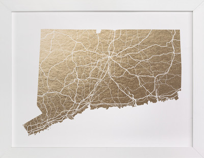 Connecticut Map Foil-Pressed Art Print