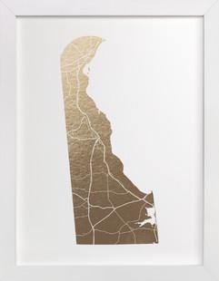 Delaware Map Foil-Pressed Art Print