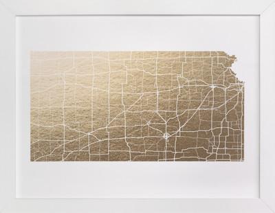 Kansas Map Foil-Pressed Art Print