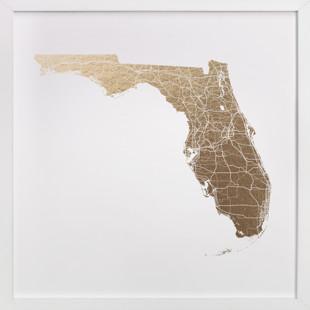 Florida Map Filled Foil-Pressed Art Print