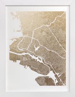 East Bay Map Foil-Pressed Art Print