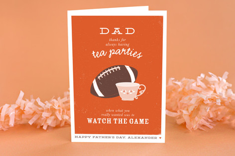 Football and Tea Father's Day Greeting Cards