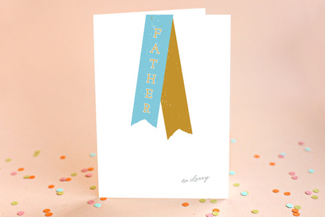 Varsity Ribbon Father's Day Greeting Cards