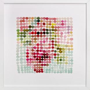 still life of bouquet in dots Art Print