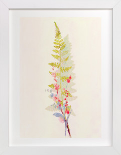 Spring Fern and Flowers Art Print