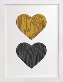 Wood Grain Hearts Art Print