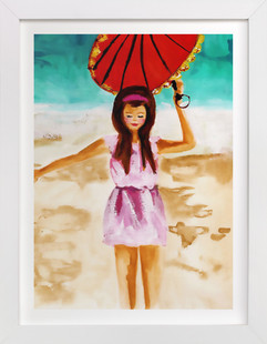 woman with umbrella Art Print