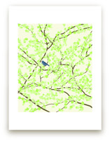 Plum tree with Birds in Spring
