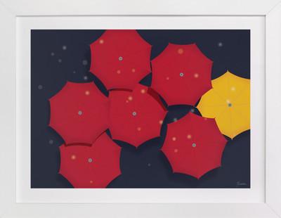 Umbrellas in the Rain Art Print