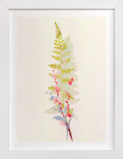 Spring Fern and Flowers Art Print