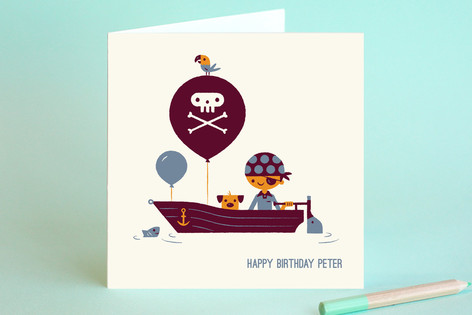 Pirate Captain Kid's Birthday Greeting Cards