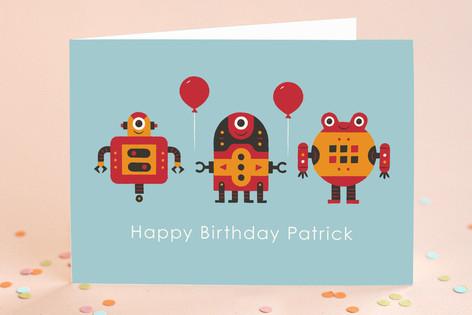 Robot Bleep Bleep Kid's Birthday Greeting Cards