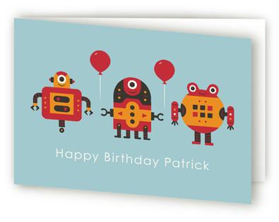 Robot Bleep Bleep Kids Birthday Greeting Cards
